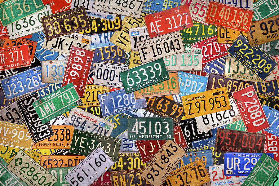 Colorful Assorted Vintage License Plates From All 50 States Mixed ...