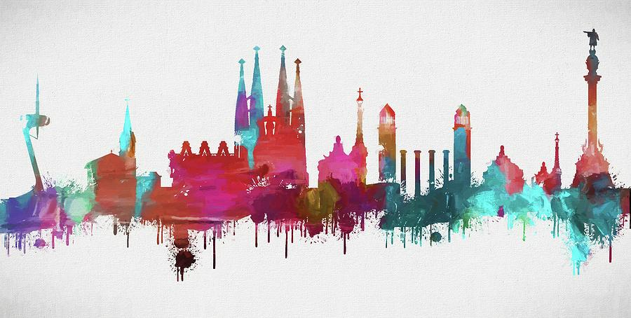 Colorful Barcelona Skyline Silhouette Painting