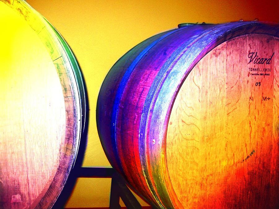 Wine Barrel Digital Art - Colorful Barrels by Cindy Edwards
