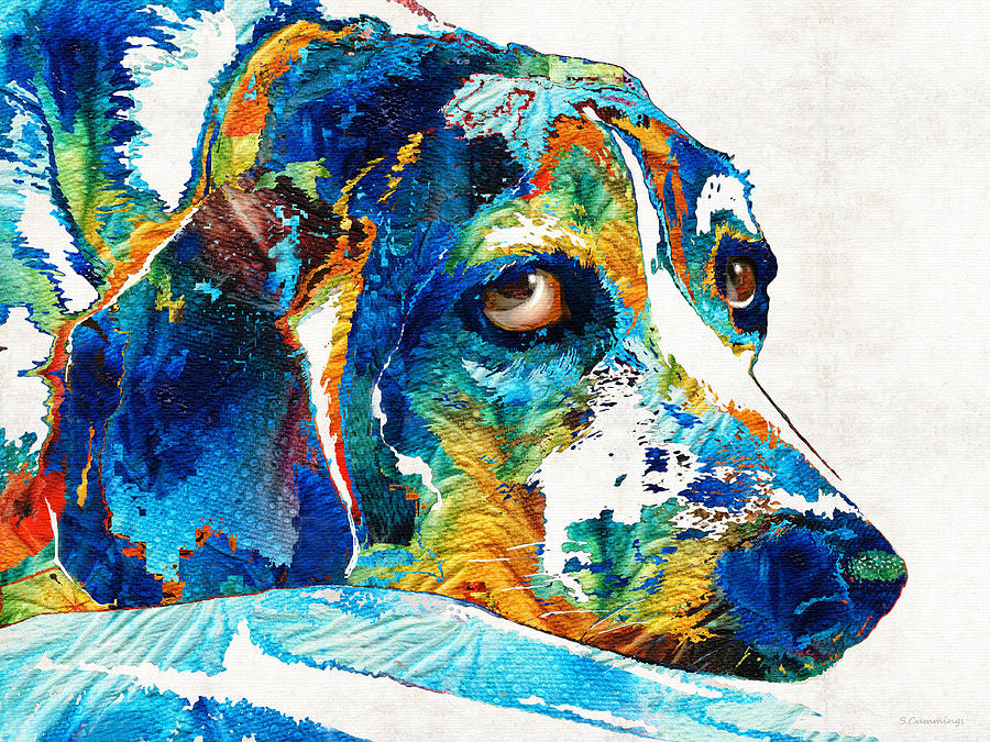 Dog Painting - Colorful Beagle Dog Art by Sharon Cummings by Sharon Cummings