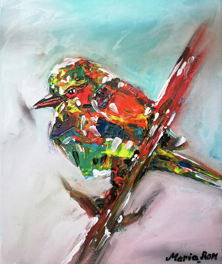 colorful bird painting by maria rom