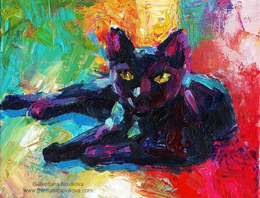 Popart Photograph - Colorful Black Cat Painting By Svetlana by Svetlana Novikova