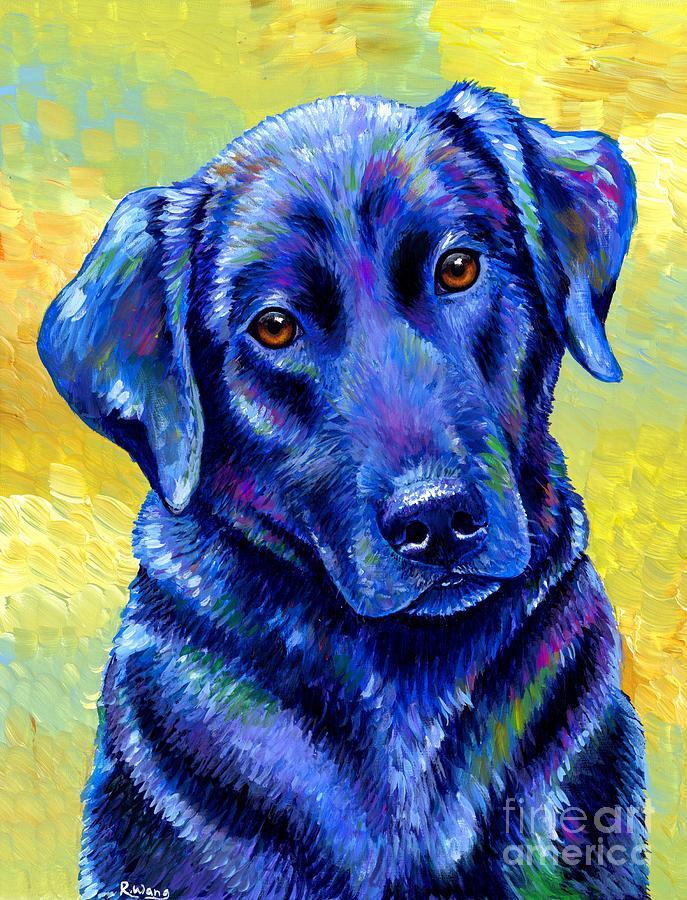 Colorful Black Labrador Retriever Dog by Rebecca Wang
