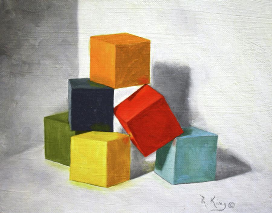 Roena King Painting - Colorful Blocks by Roena King
