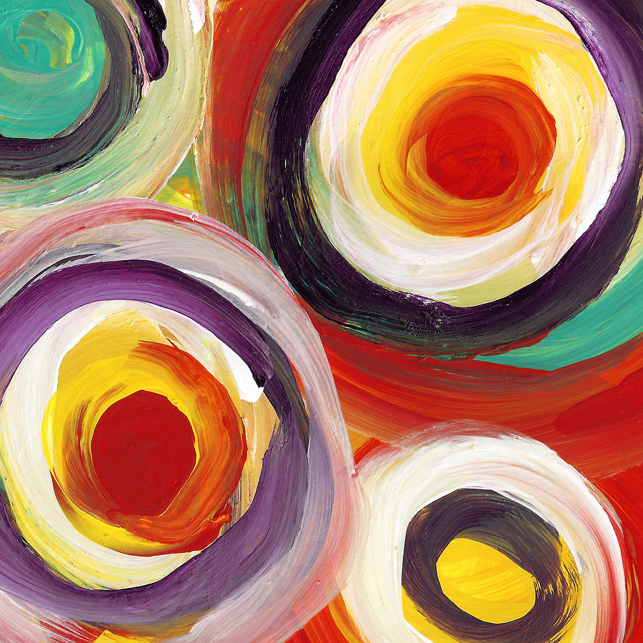 Colorful Bold Circles Square 3 Painting