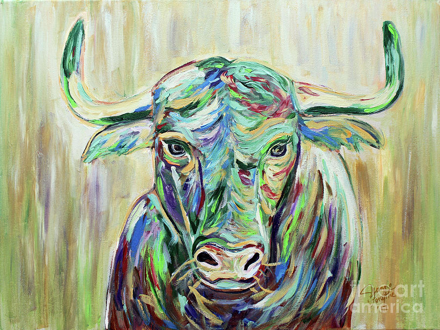 Colorful Bull by Jeanne Forsythe