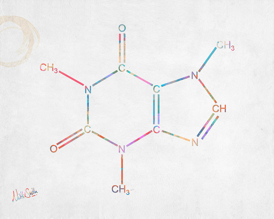 Colorful Caffeine Molecular Structure by Nikki Marie Smith