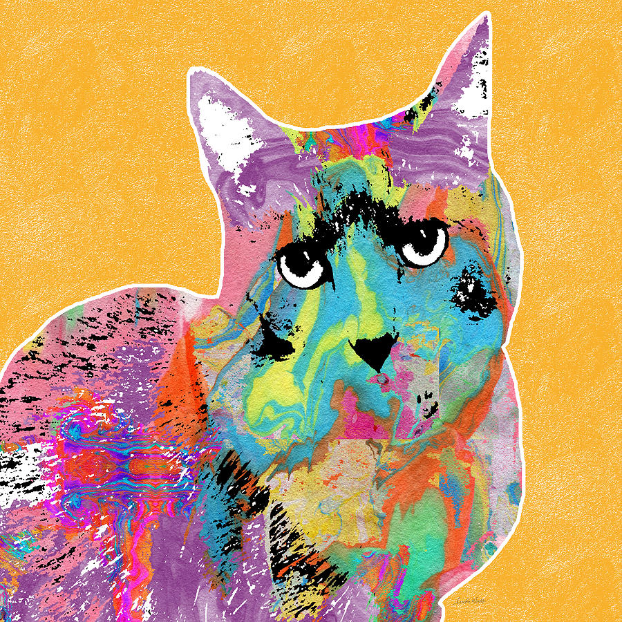 Colorful Cat With An Attitude- Art By Linda Woods Mixed Media