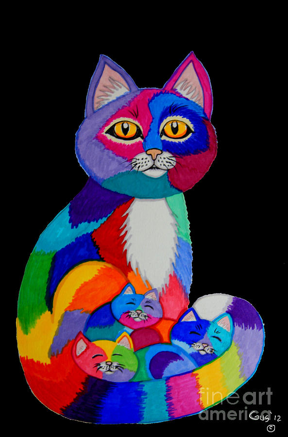 Colorful Cats And Kittens Drawing