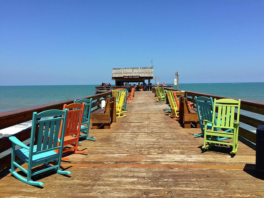 Cocoa Beach Pier >> Colorful Chairs On Cocoa Beach Pier Photograph By Denise Mazzocco