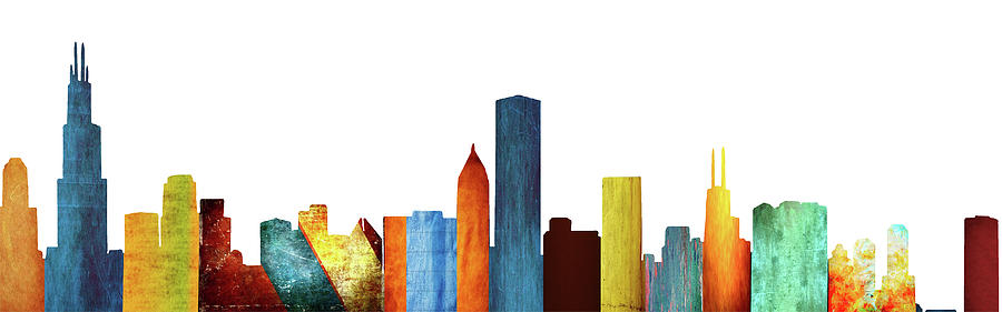 Chicago Digital Art - Colorful Chicago Skyline by Art Spectrum