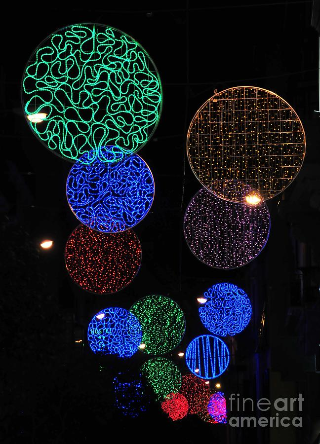 Outdoor Photograph - Colorful Christmas Lights Decoration Display In Madrid, Spain. by Akshay Thaker PhotOvation