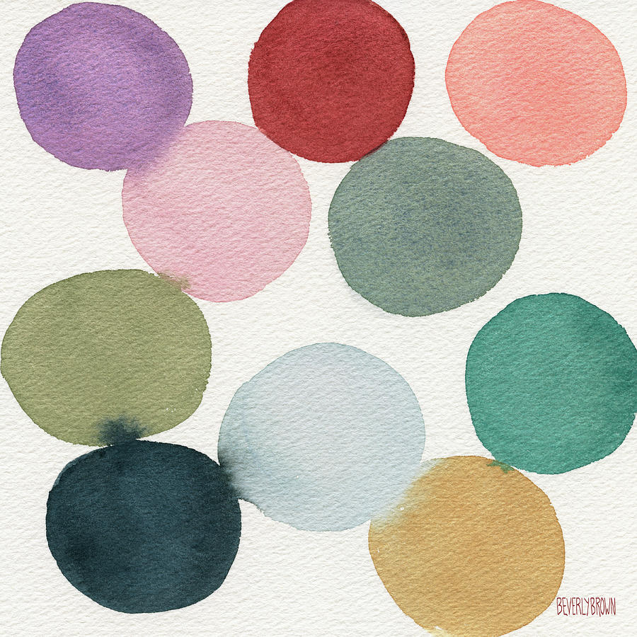 Colorful Painting - Colorful Circles Abstract Watercolor by Beverly Brown