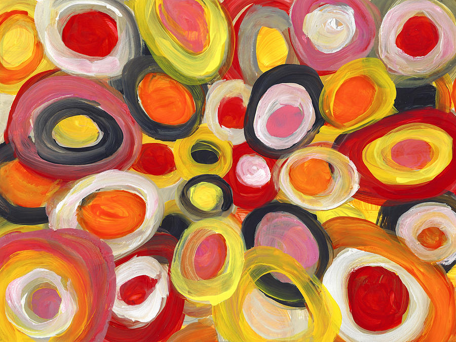 Circles Painting - Colorful Circles in Motion  1 by Amy Vangsgard