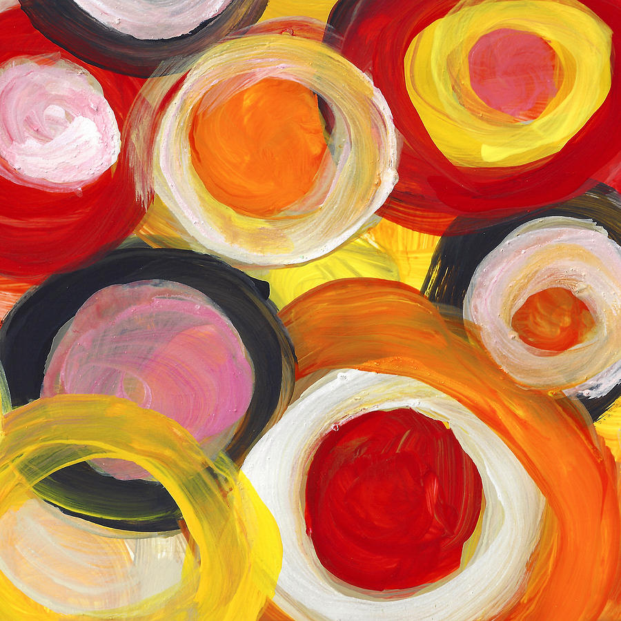 Colorful Circles In Motion Square 2 Painting