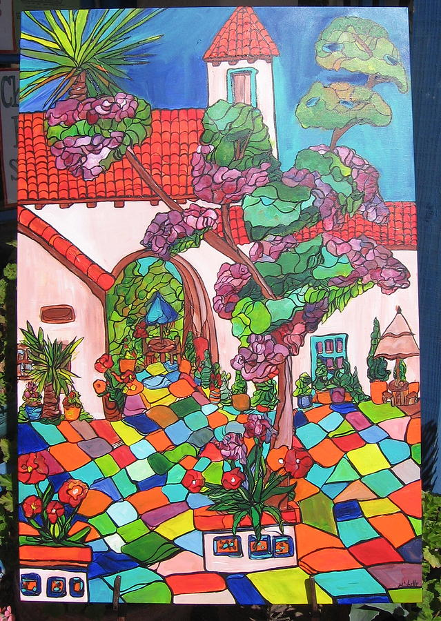 Colorful Courtyard-spanish Village-san Diego Painting by Michelle Gonzalez