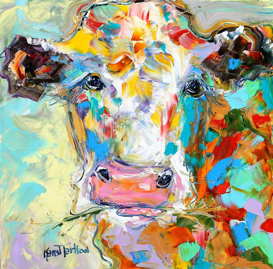 Colorful Cow Portrait Painting by Karen Tarlton