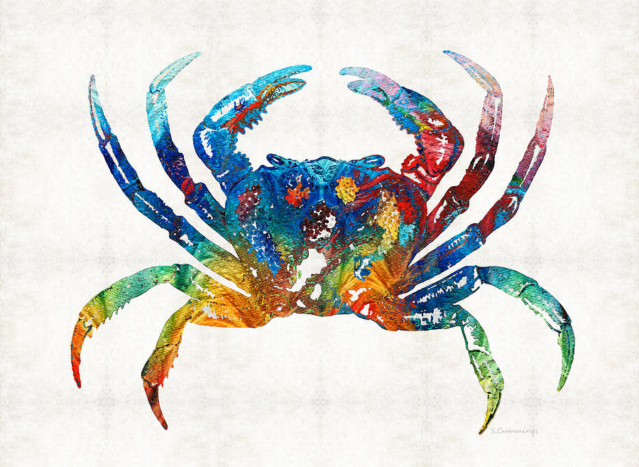 Crab Painting - Colorful Crab Art by Sharon Cummings by Sharon Cummings