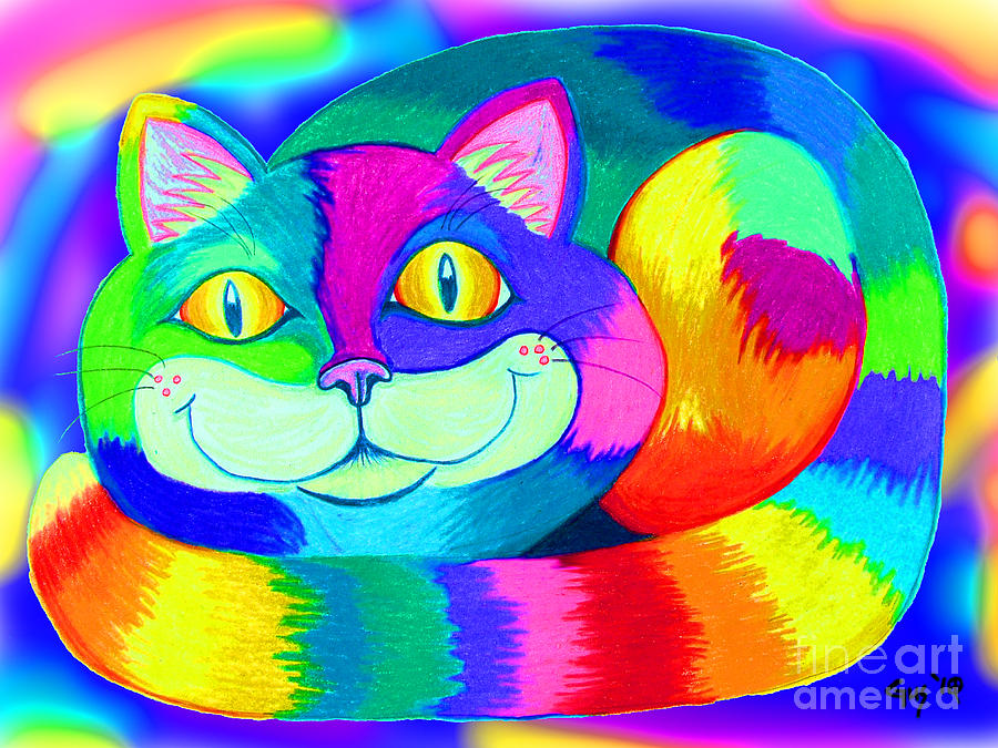 Cat Digital Art - Colorful Crazy Cat by Nick Gustafson