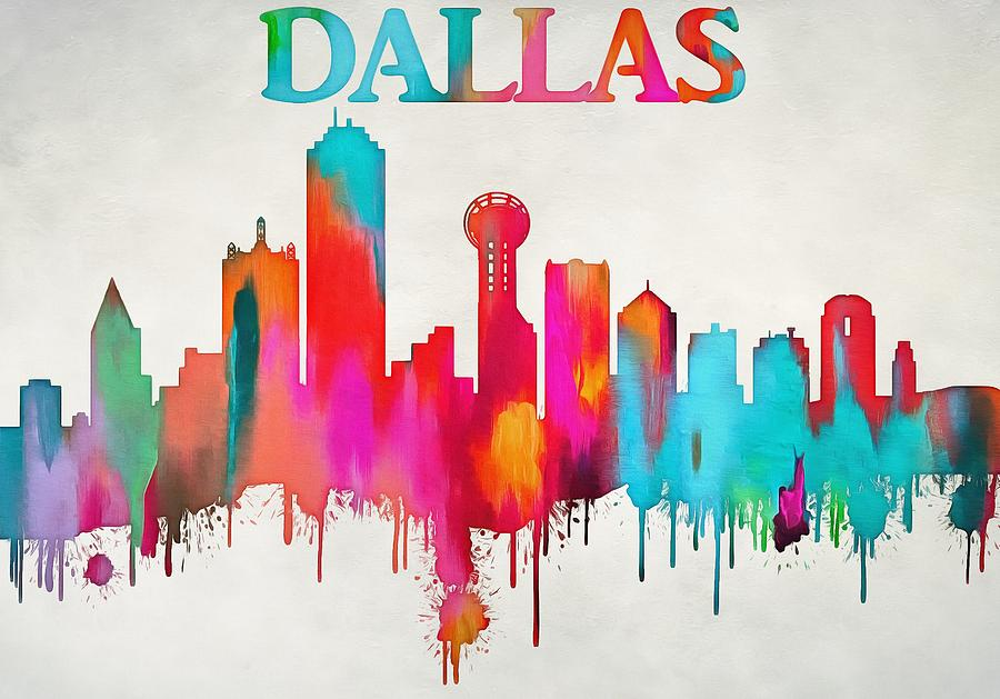 colorful dallas skyline silhouette painting by dan sproul