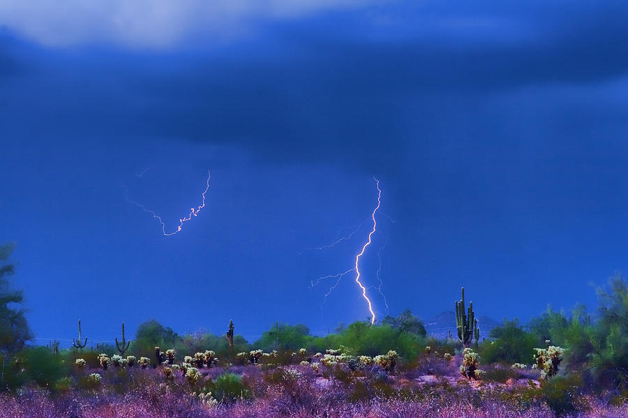 Lightening Photograph - Colorful Desert Storm by James BO  Insogna