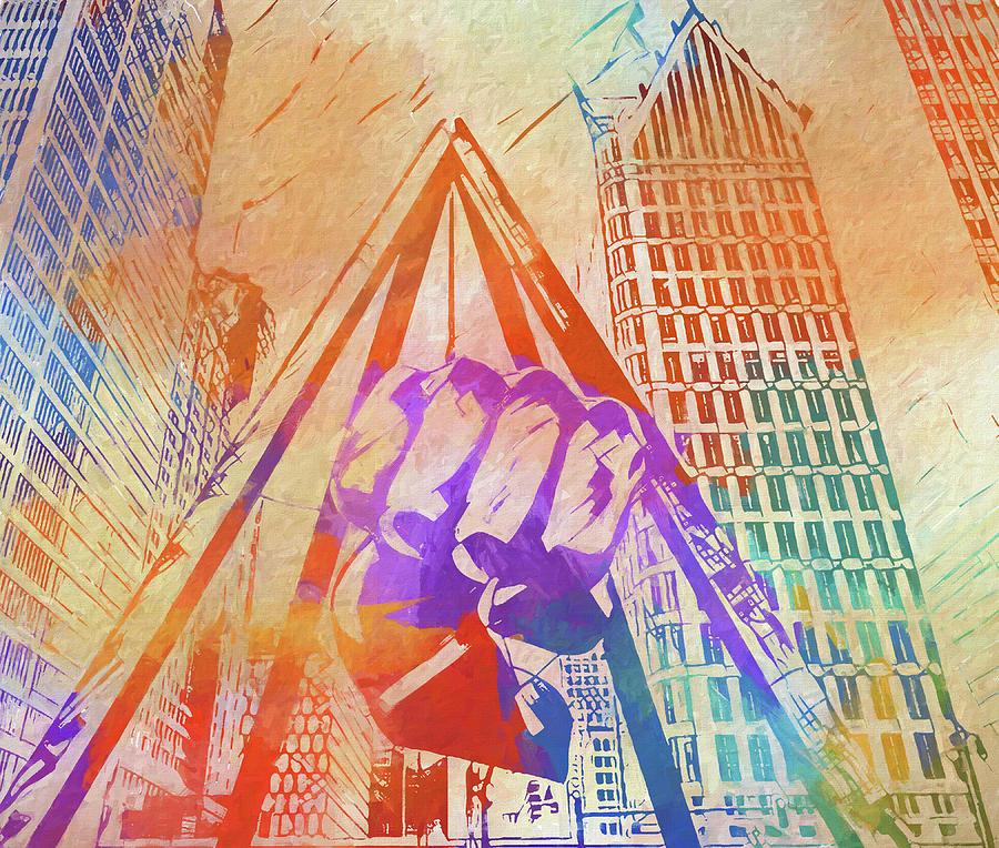 Colorful Detroit Fist Painting