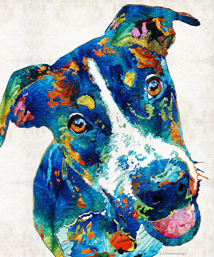 Dog Painting - Colorful Dog Art - Happy Go Lucky - By Sharon Cummings by Sharon Cummings