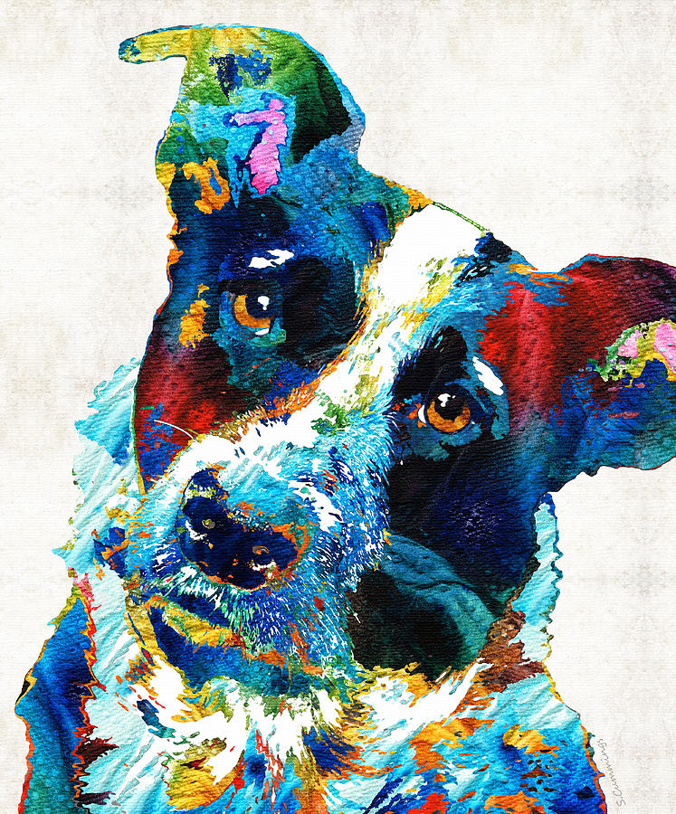 Colorful dog art irresistible by sharon cummings for Dog painting artist