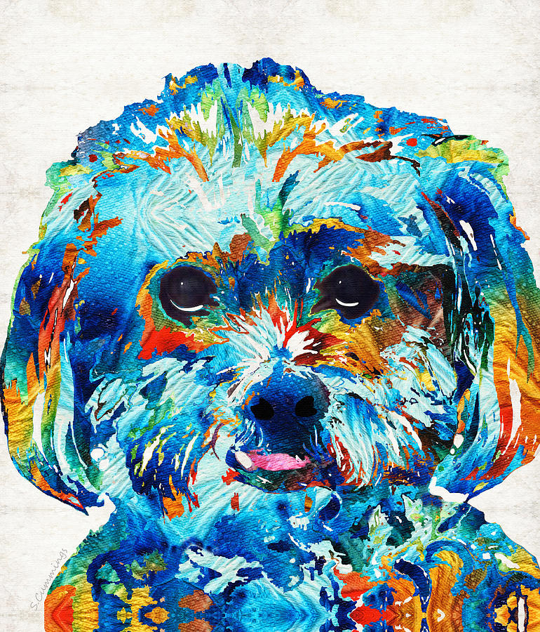 Dog Painting - Colorful Dog Art - Lhasa Love - By Sharon Cummings by Sharon Cummings