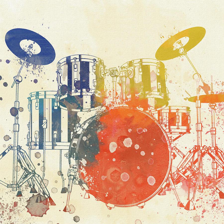 Drum Set Painting - Colorful Drum Set by Dan Sproul