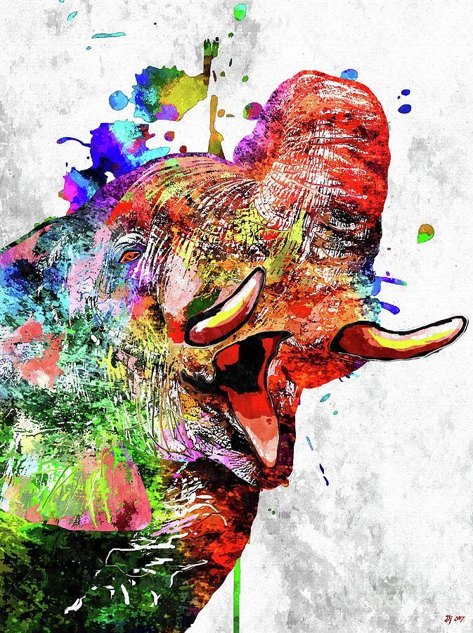 Colorful Elephant Mixed Media - Colorful Elephant by Daniel Janda