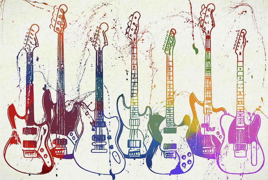 Fender Guitars Painting - Colorful Fender Guitars Paint Splatter by Dan Sproul