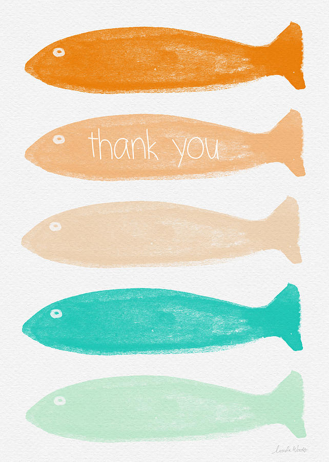 Colorful Fish Thank You Card Painting By Linda Woods