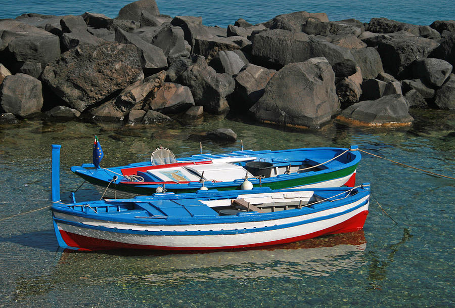 Boats Photograph - Colorful Fishing Boats by Chuck Wedemeier