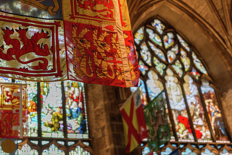 Edinburgh Photograph - Colorful Flags And Stained Glasss Windows by Iordanis Pallikaras