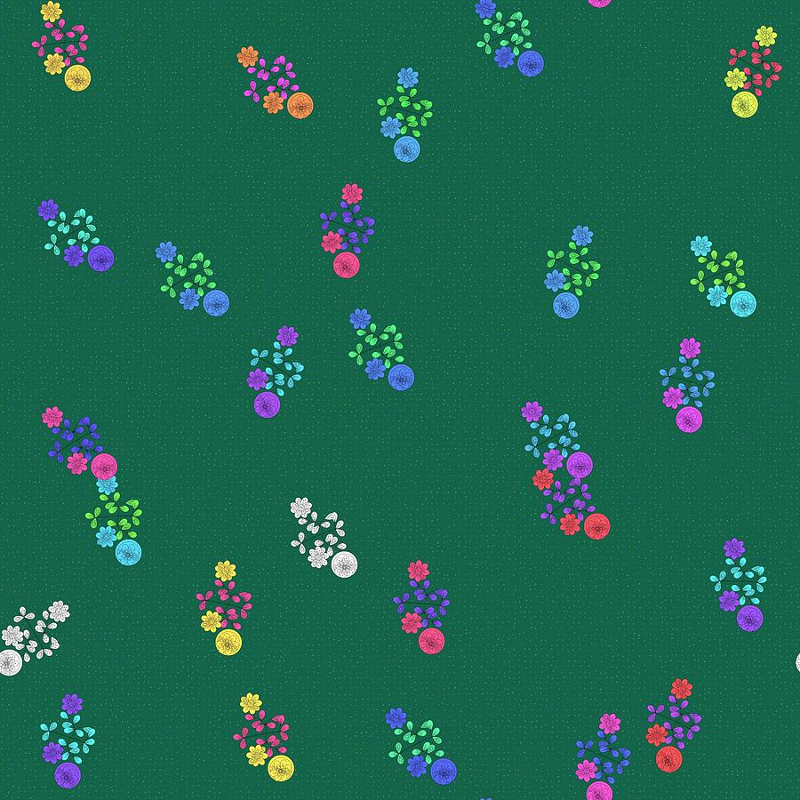 Colorful floral pattern on green by Lenka Rottova
