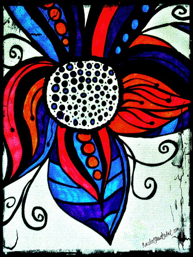 Doodle Drawing - Colorful Flower by Rachel Maynard