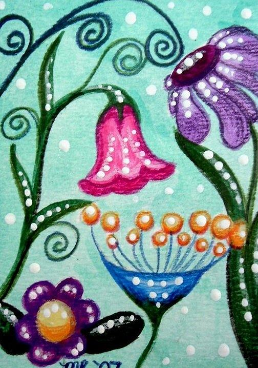 Floral Painting - Colorful Flowers by Monica Resinger