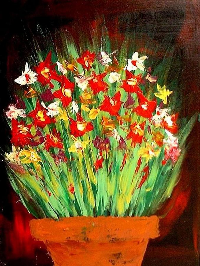 Flowers Painting - Colorful Flowers by Teo Alfonso