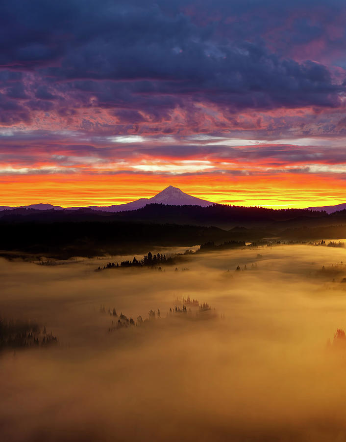 Sandy River Photograph - Colorful Foggy Sunrise over Sandy River Valley by David Gn