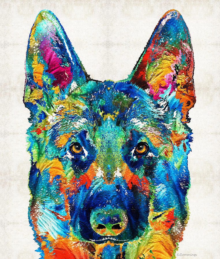 German Shepherd Painting - Colorful German Shepherd Dog Art By Sharon Cummings by Sharon Cummings