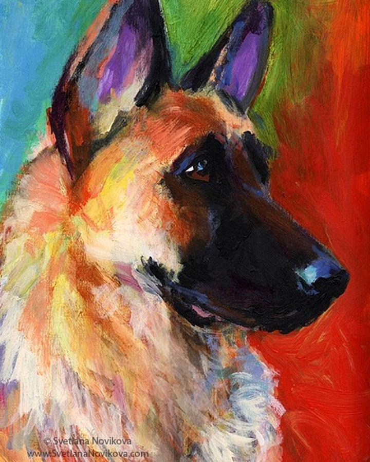 Impressionism Photograph - Colorful German Shepherd Painting By by Svetlana Novikova
