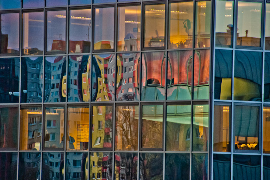 6da8e823711 Abstract Photograph - Colorful Abstract Glass Office Window Building  Reflections by Aaron Sheinbein