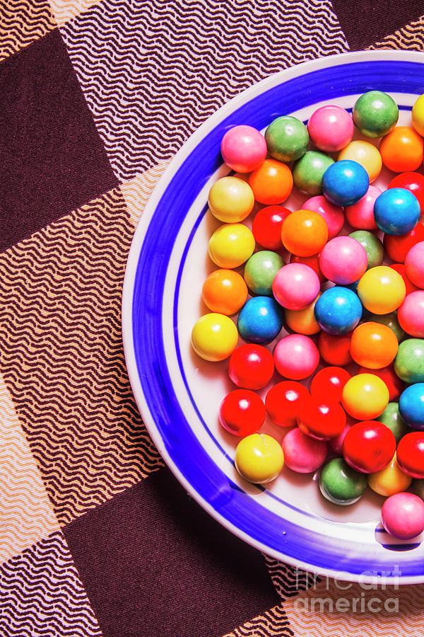 Gumballs Photograph - Colorful Gumballs On Plate by Jorgo Photography - Wall Art Gallery