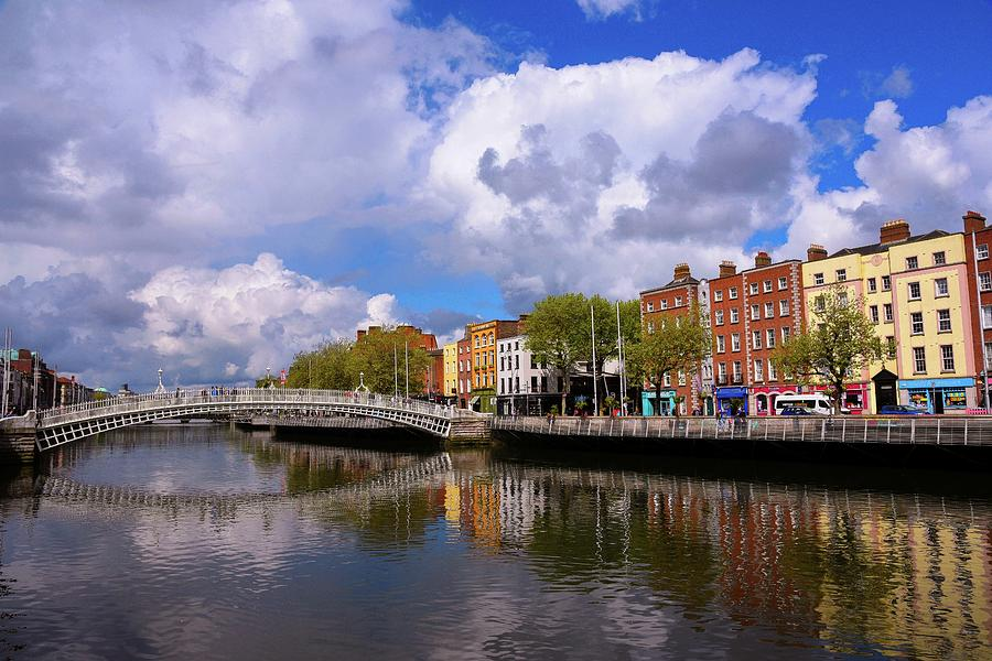 Colorful Ha Penny Bridge Over The River Liffey In Dublin
