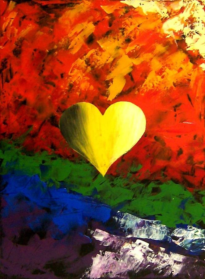 Colorful Heart Love Painting Painting By Teo Alfonso