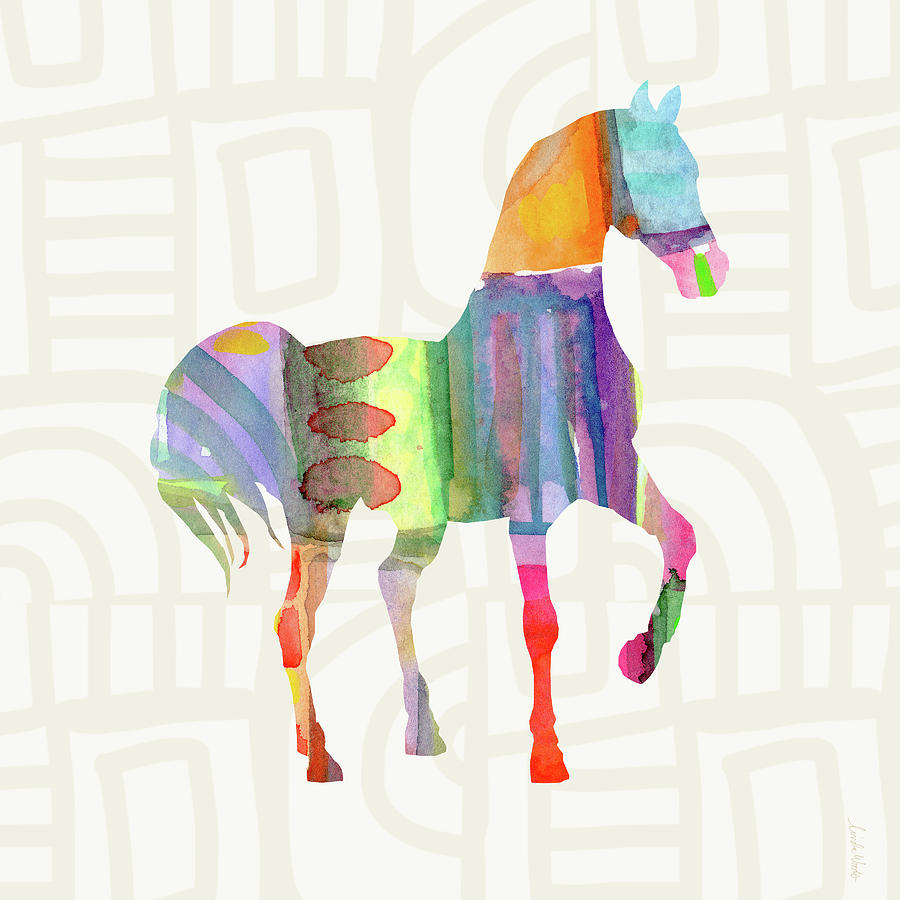 Horse Painting - Colorful Horse 3- Art by Linda Woods by Linda Woods