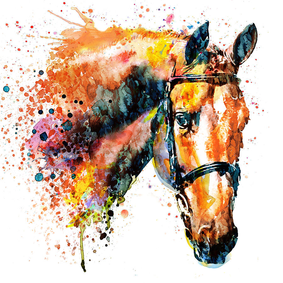 Colorful Horse Head Mixed Media by Marian Voicu