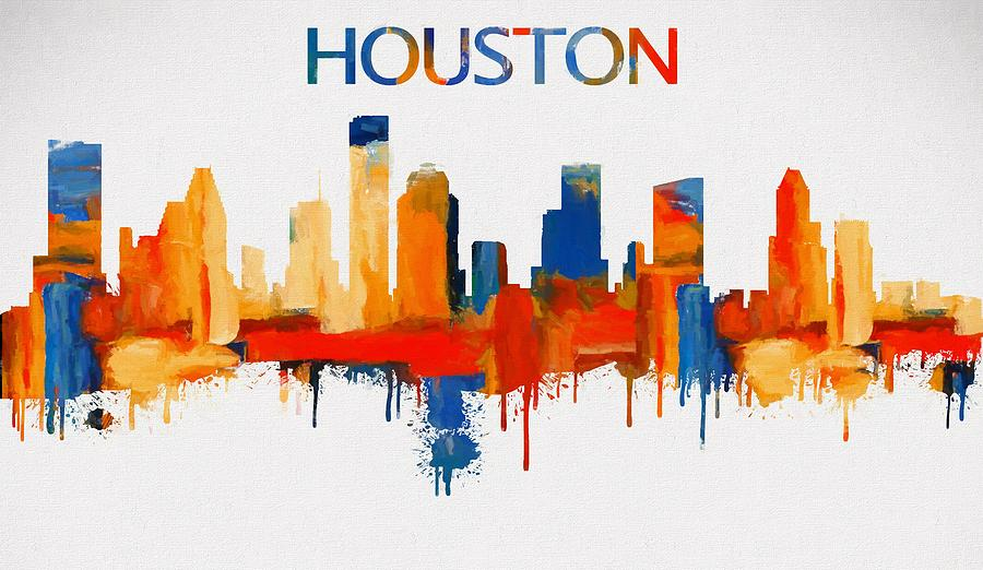 Colorful Houston Skyline Silhouette Painting by Dan Sproul