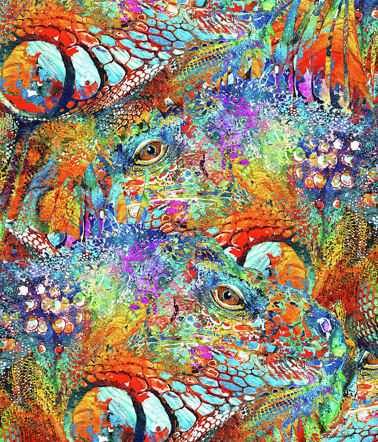 Colorful Iguana Art Tropical Two Sharon Cummings